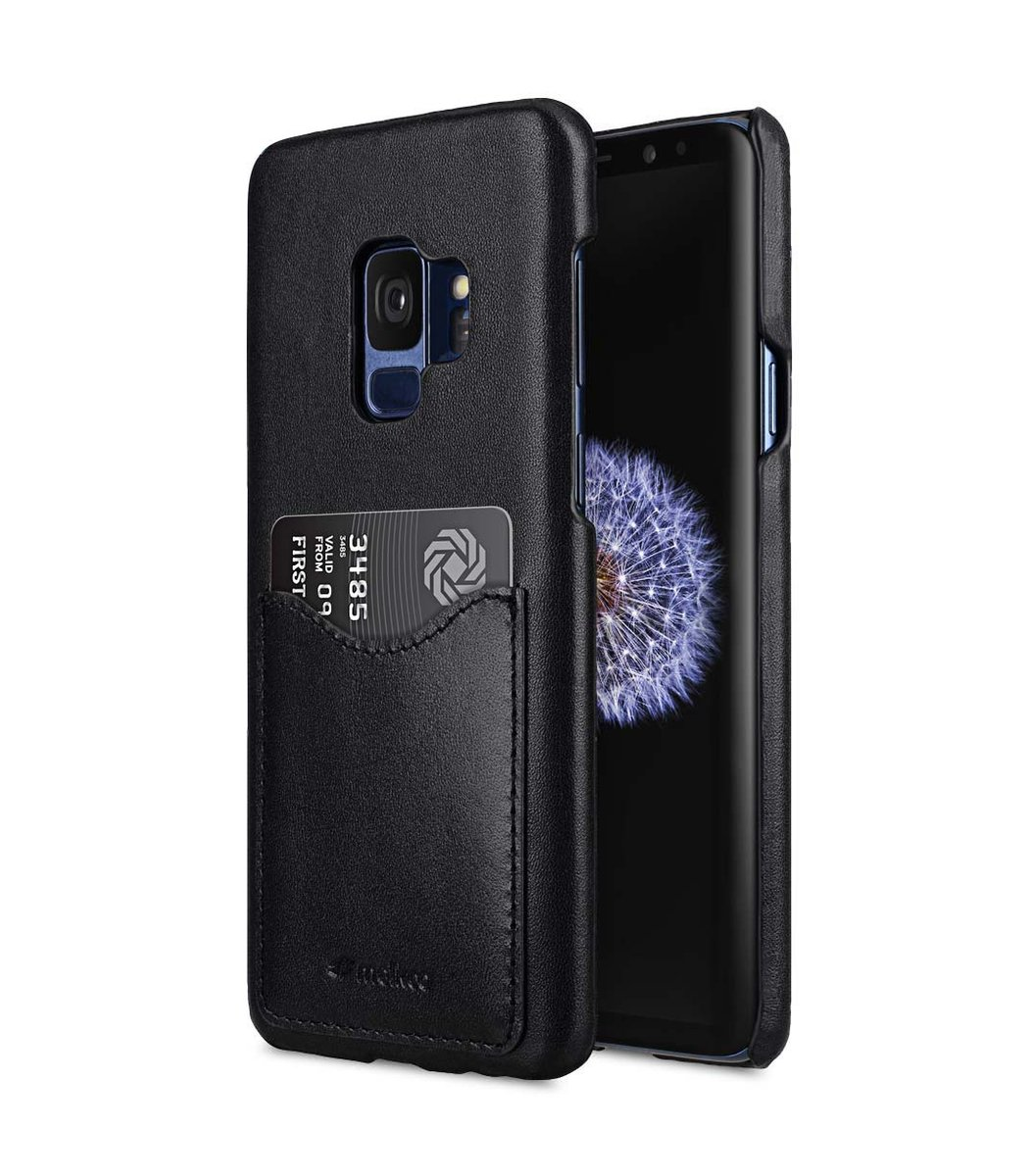 Samsung Galaxy S9 Premium Cow Leather Card Slot Back Cover - Black
