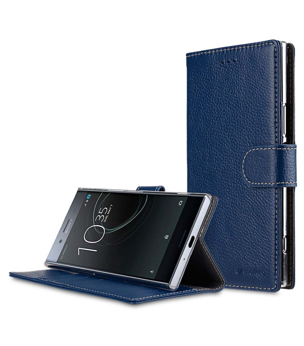 Sony Xperia XZ Premium Cow Leather Wallet Book Clear Type Stand Case - Dark Blue LC