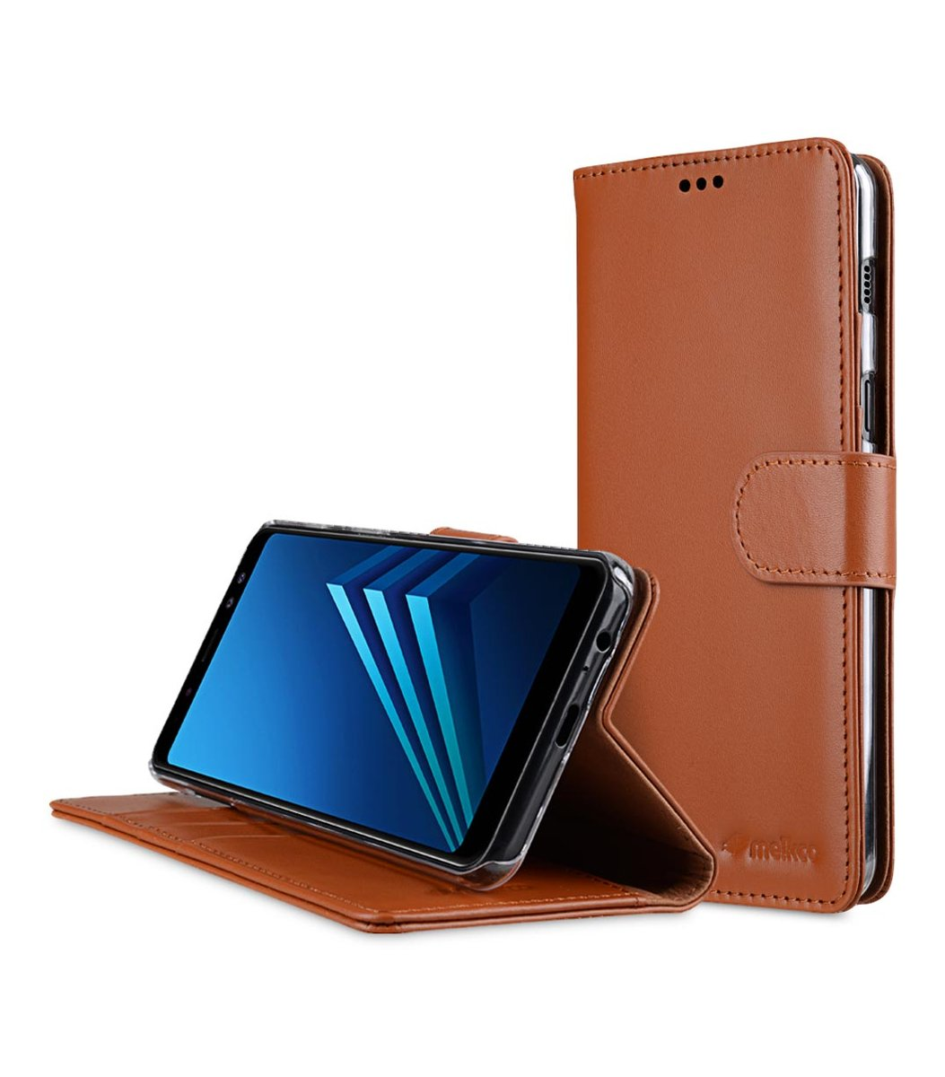 Samsung Galaxy A8+ (2018) Premium Cow Leather Wallet Book Clear Type Stand Case - Brown