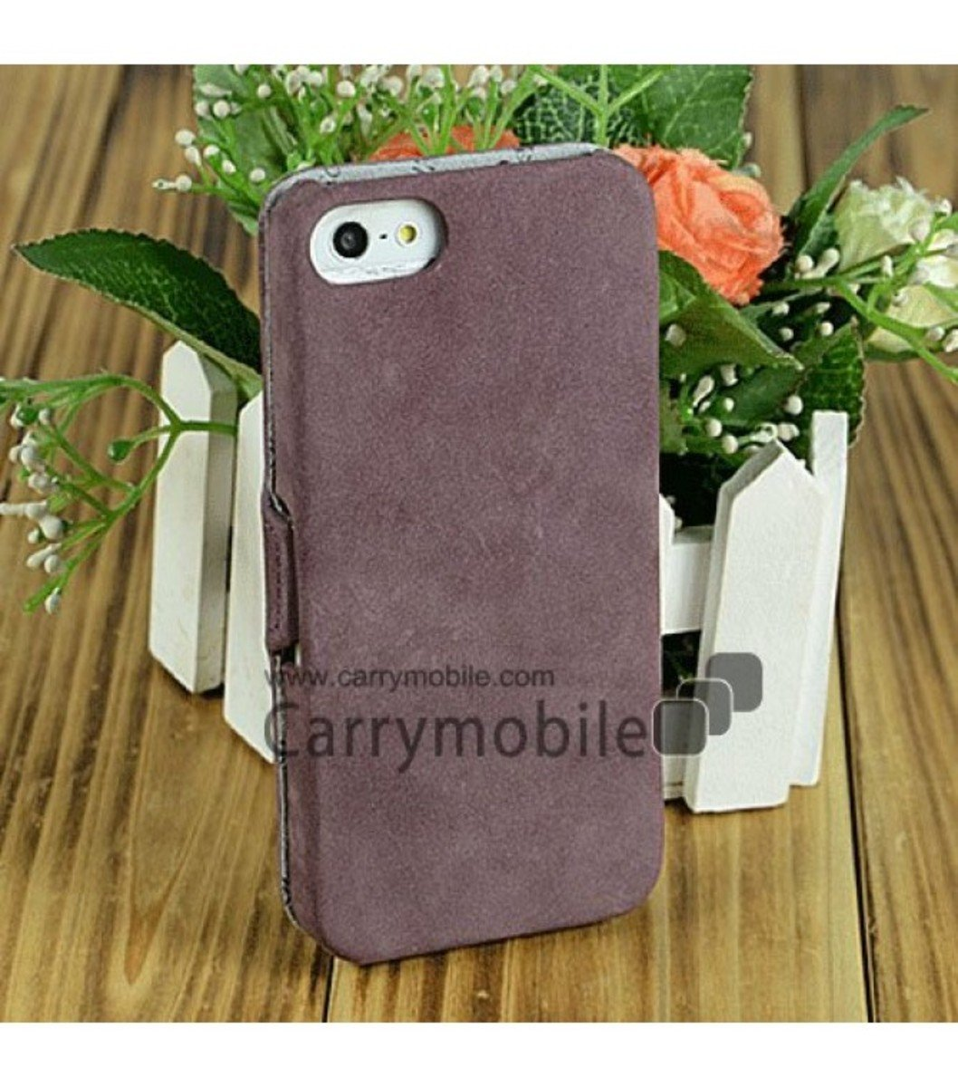 Premium Leather Case for Apple iPhone 5 Jacka Book Type-Classic Vintage Purple