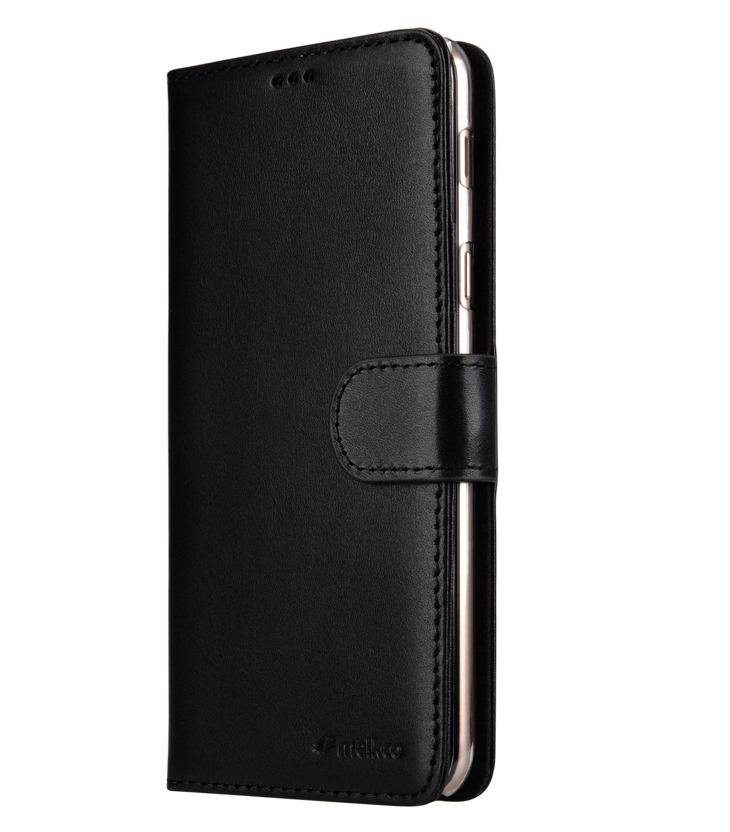 Samsung Galaxy A6+ (2018) Premium Cow Leather Wallet Book Clear Type Stand Case - Black