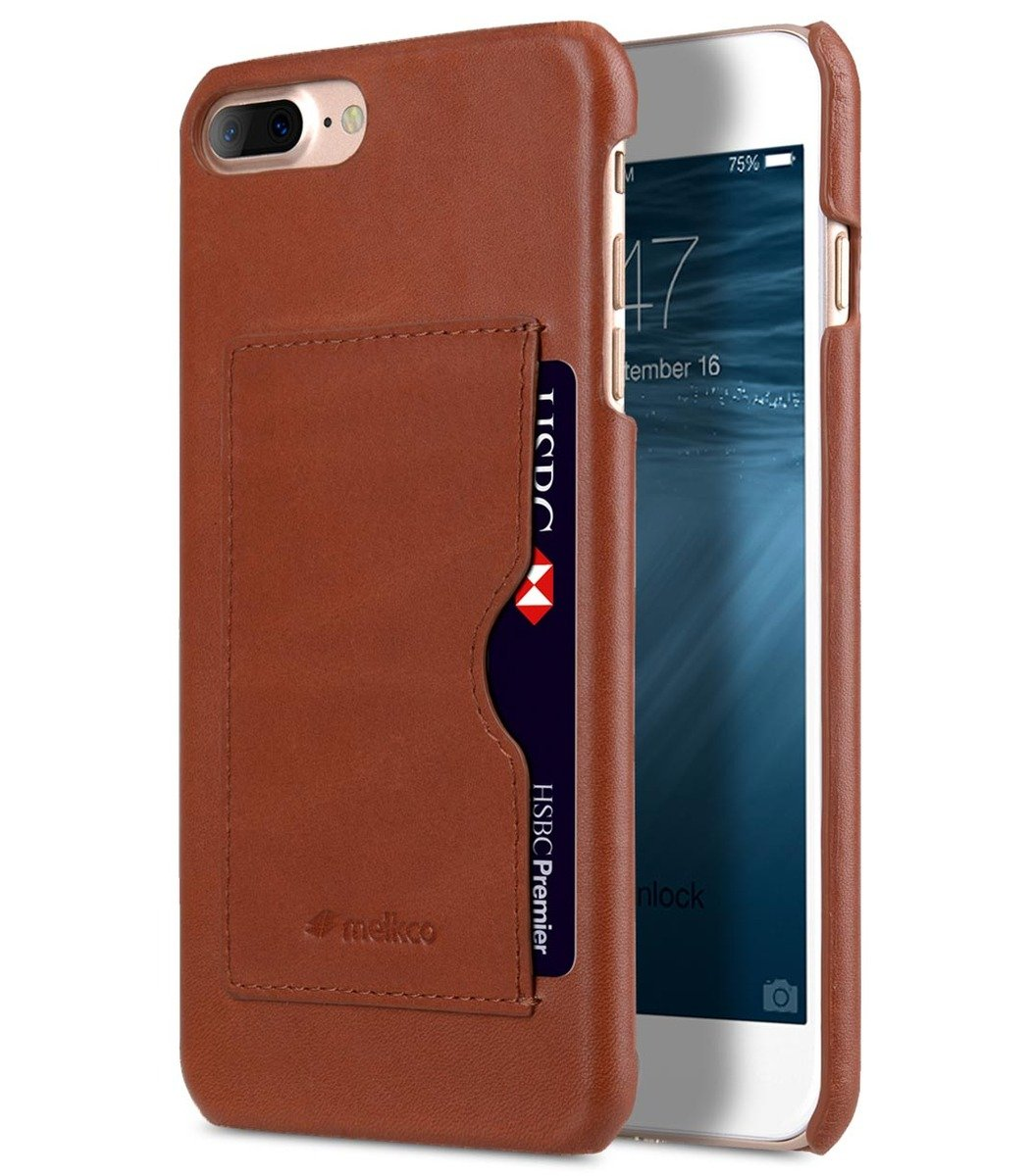 Apple iPhone 8 Plus / 7 Plus Premium Leather Card Slot Snap Cover (Ver.1) (Orange Brown)