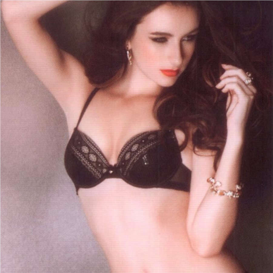 Black Sequin Lace Padded Push up Bra