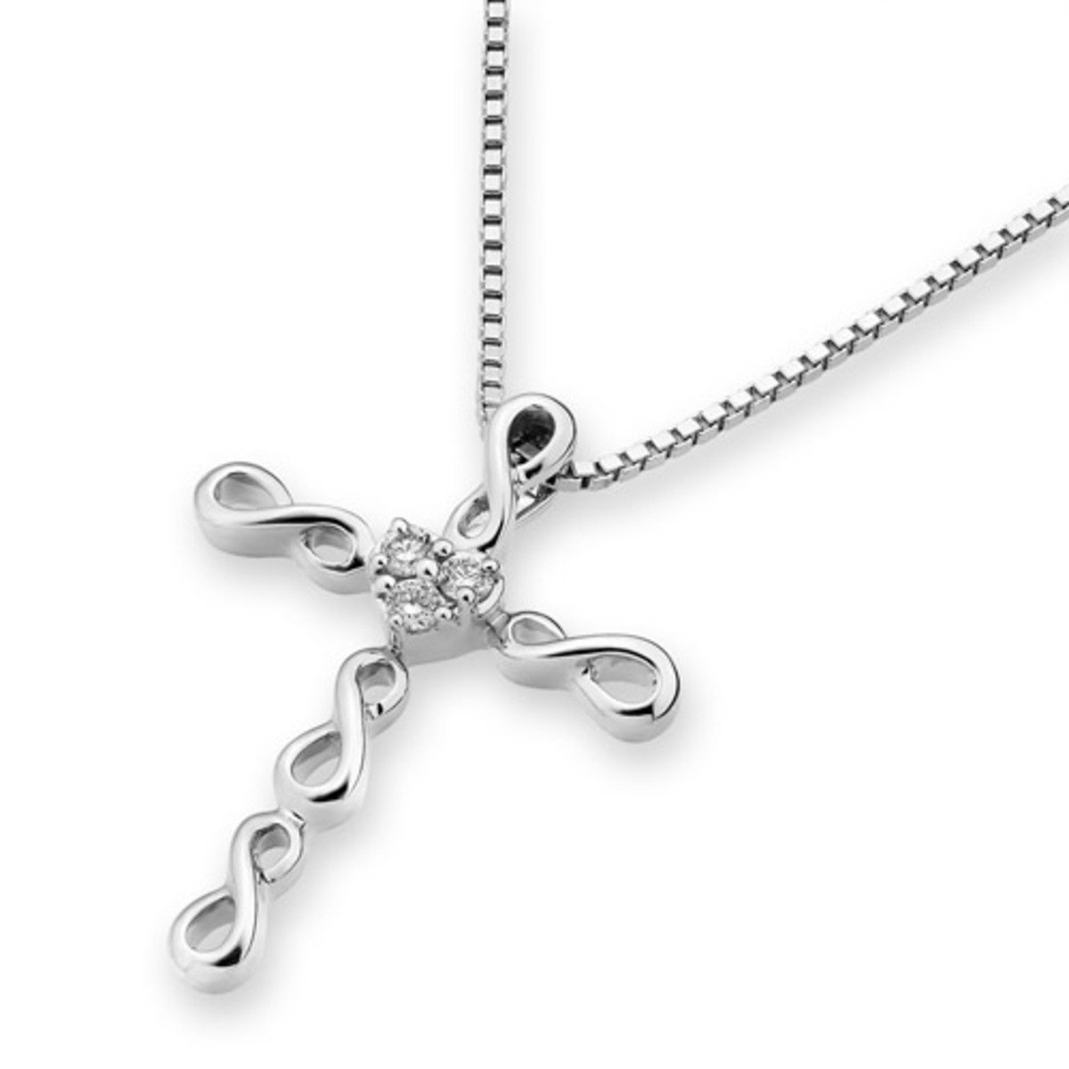 18K/750 White Gold Infinity Cross Diamond Pendant