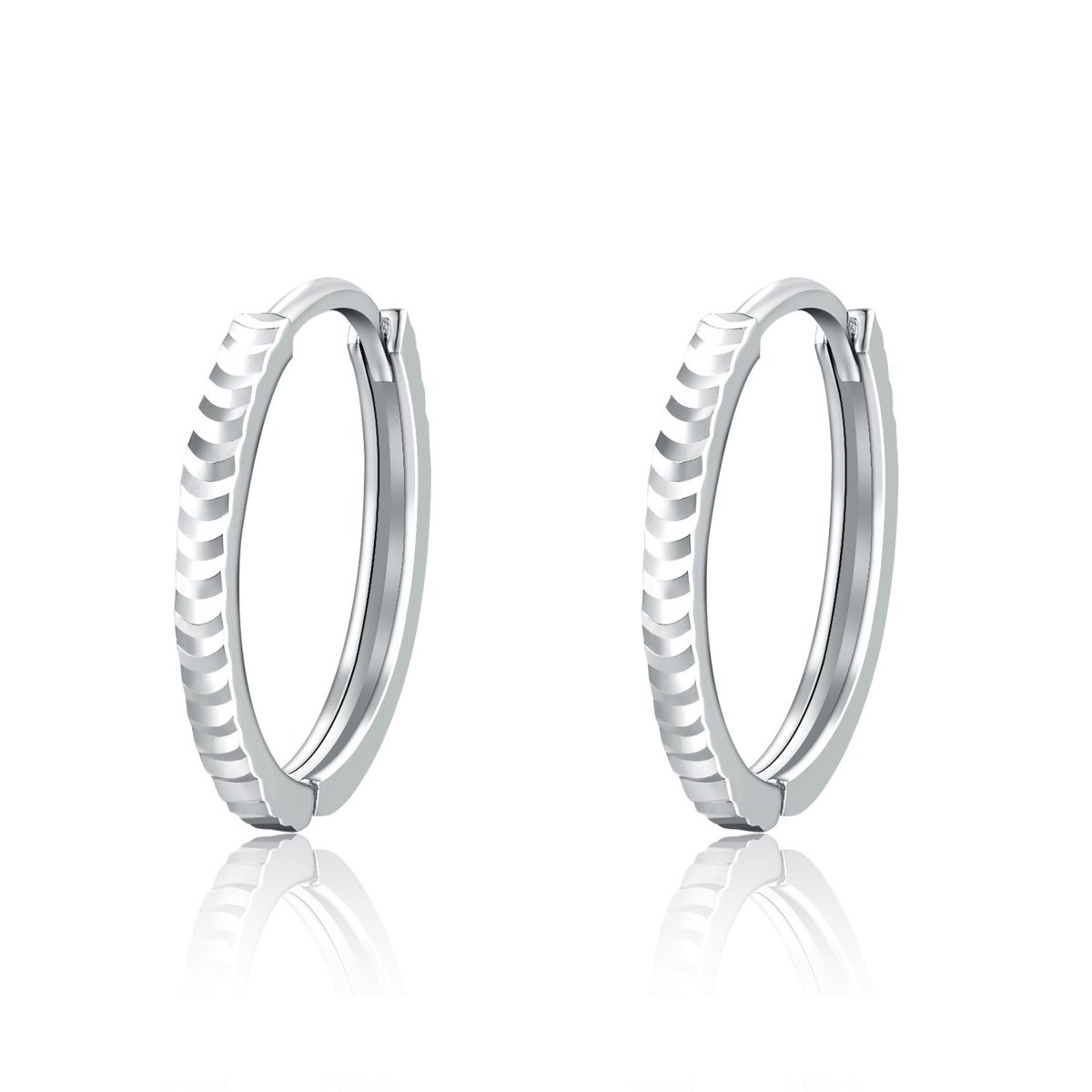 14K/585 White Gold Diamond Cut Hoop Earrings