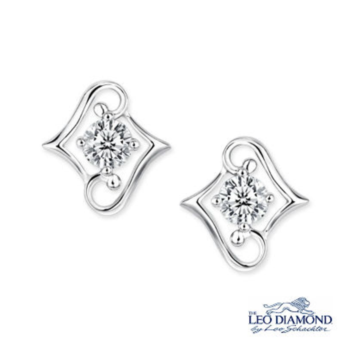 Beloved Collection - 18K/750 White Gold Diamond Solitaire Double L-Shaped Earrings
