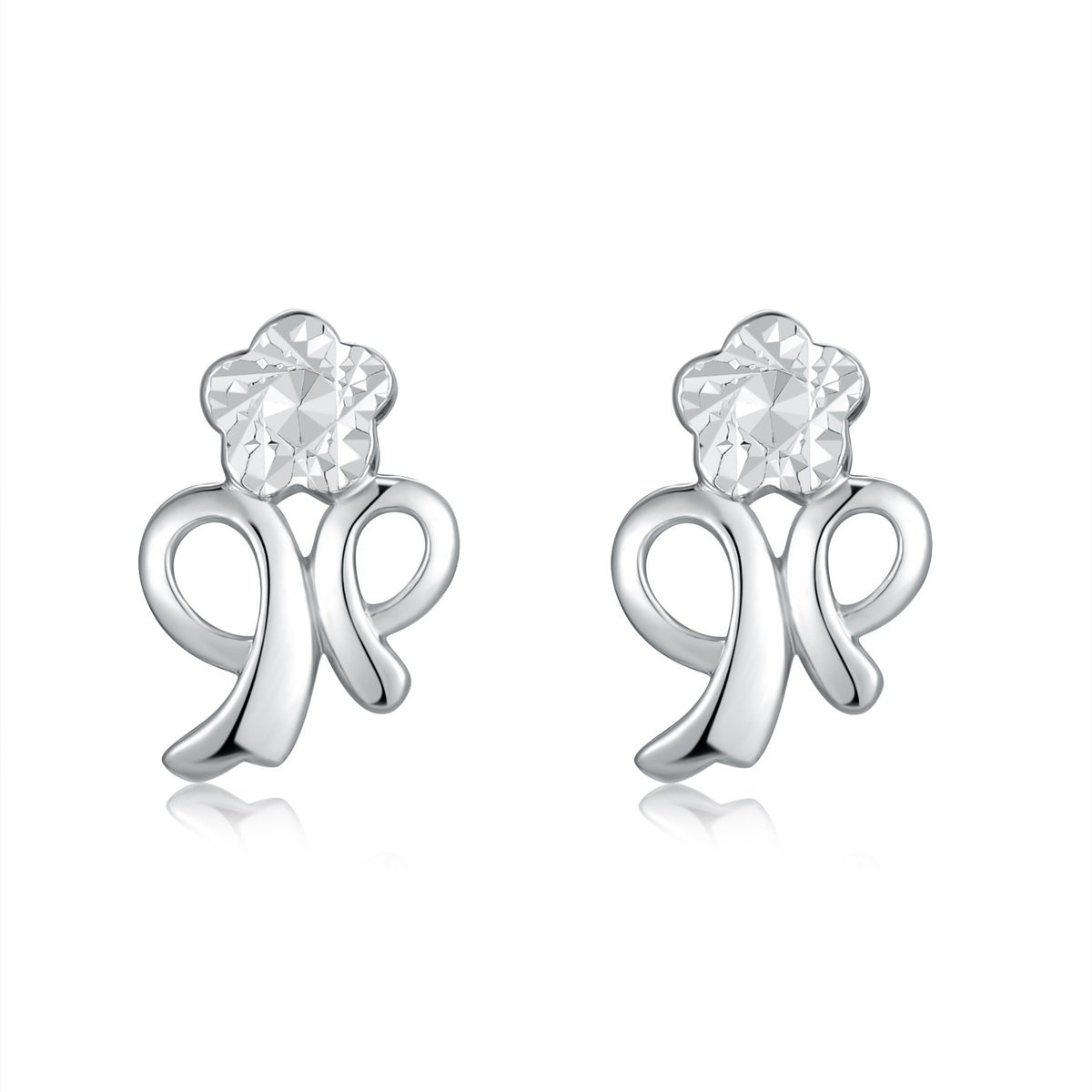 14K/585 White Gold Little Flower Diamond Cut Earrings