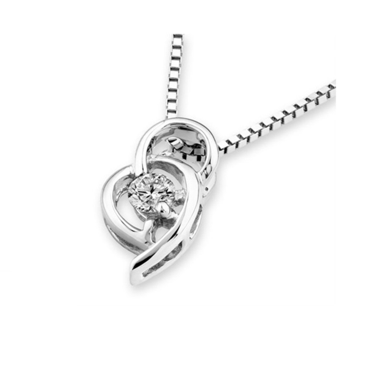 18K/750 White Gold Diamond Solitaire Pendant