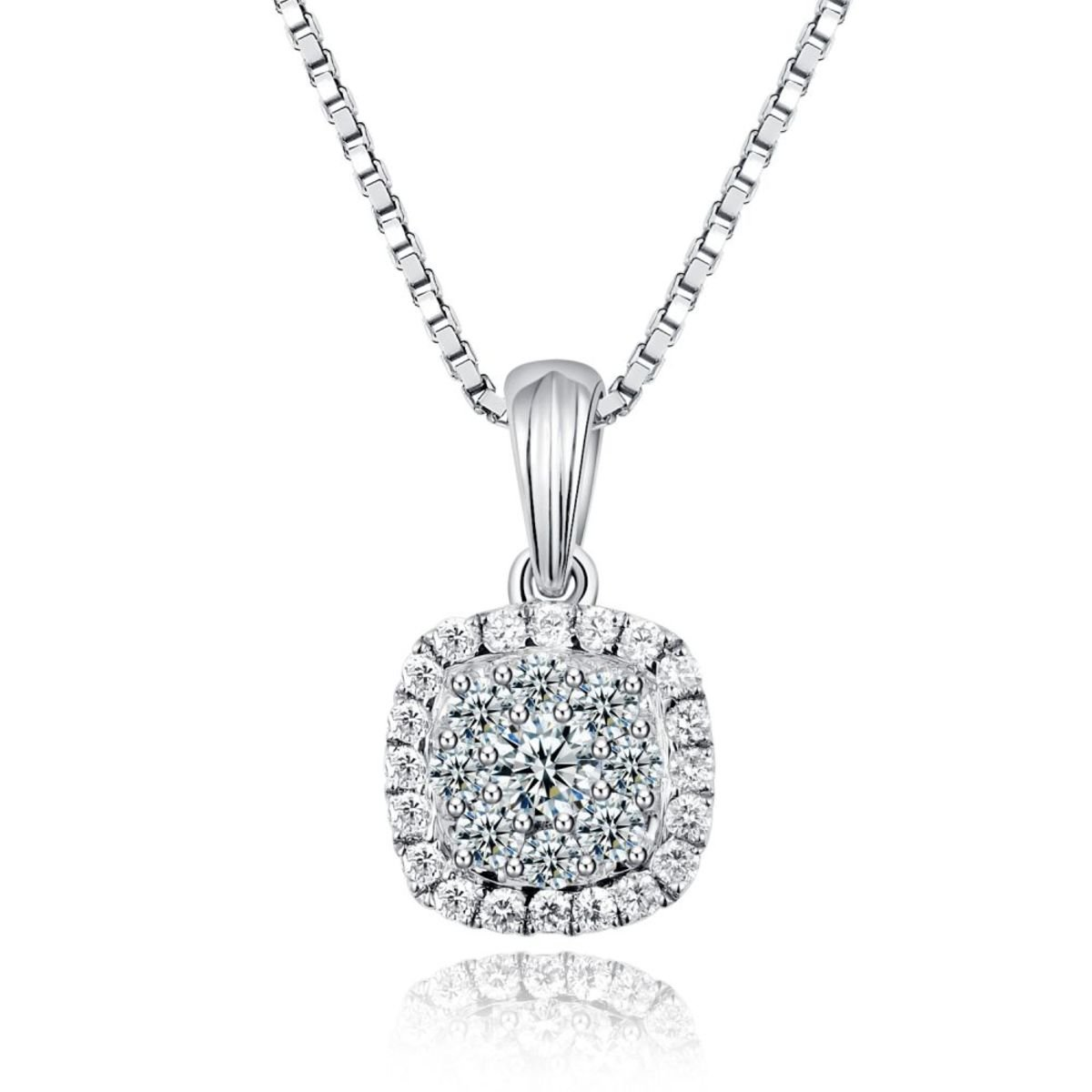 18K/750 White Gold Paved Diamond Cushion Shape Pendant
