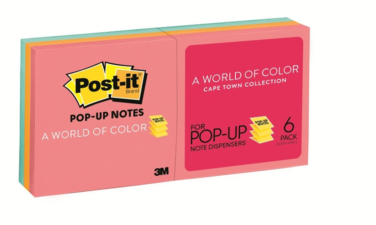 "R330-AN Pop-up Notes 3""x3"" Cape Town, 6 pads / pack"
