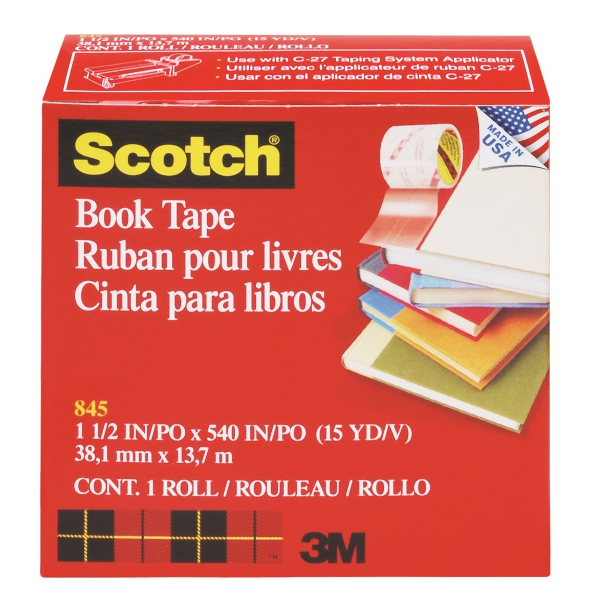 "845 Book Tape, Boxed 1-1/2"" x 15 yds"