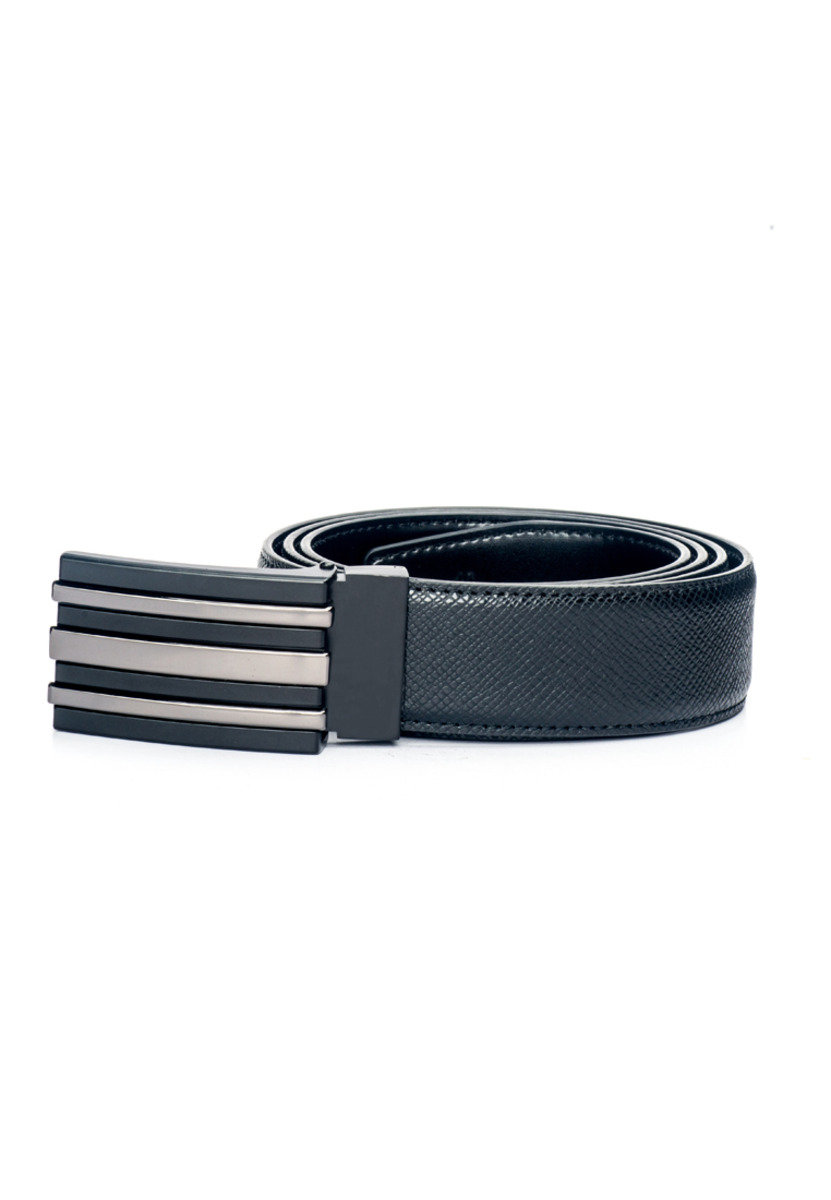 Street Smart Two Tone Buckle Saffiano Leather Belt