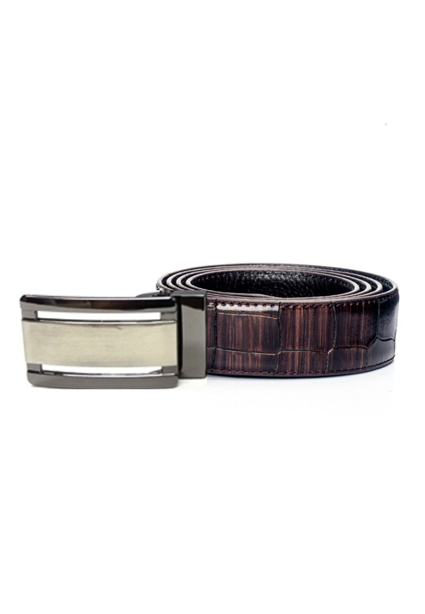 Two Tone Deluxe Brown Croco Embossed Leather Belt
