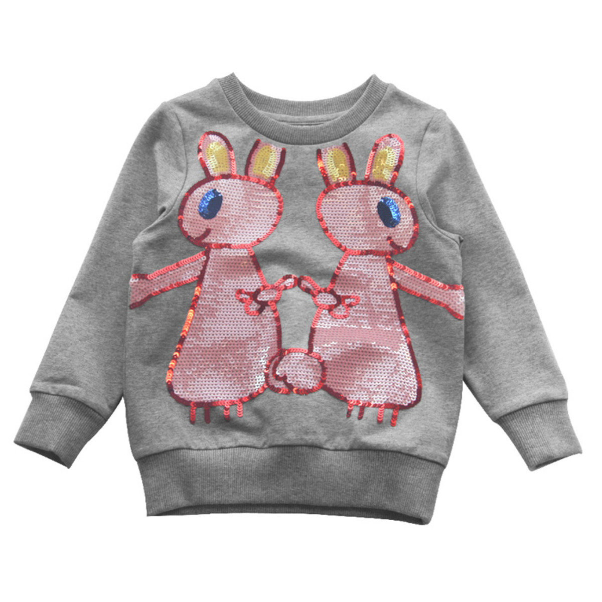 Lovie Rabbit Cotton Crew (Grey)