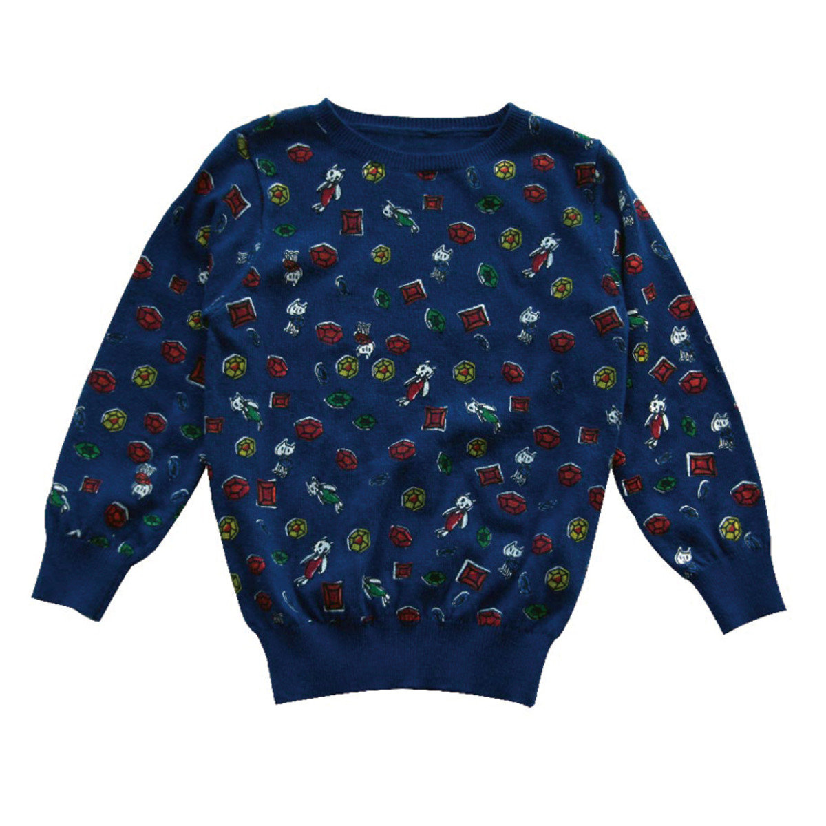 Lovie Jem Print Wool Sweater (Navy)