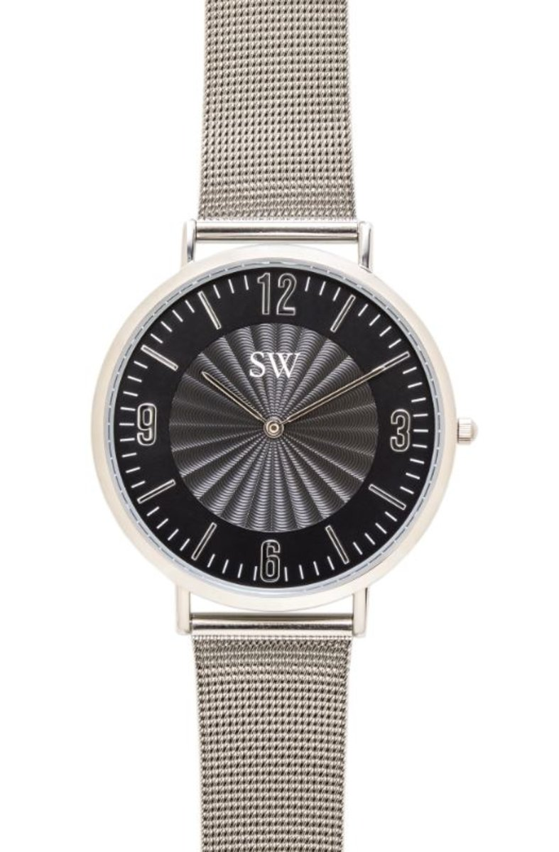 Trendy Wavy Stainless Steel Quartz Watch - SW18202-SLBK