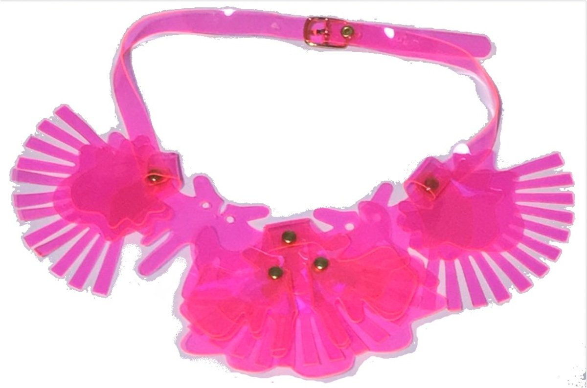 Shocking Pink PVC Die-cut Stylish Stud Necklace