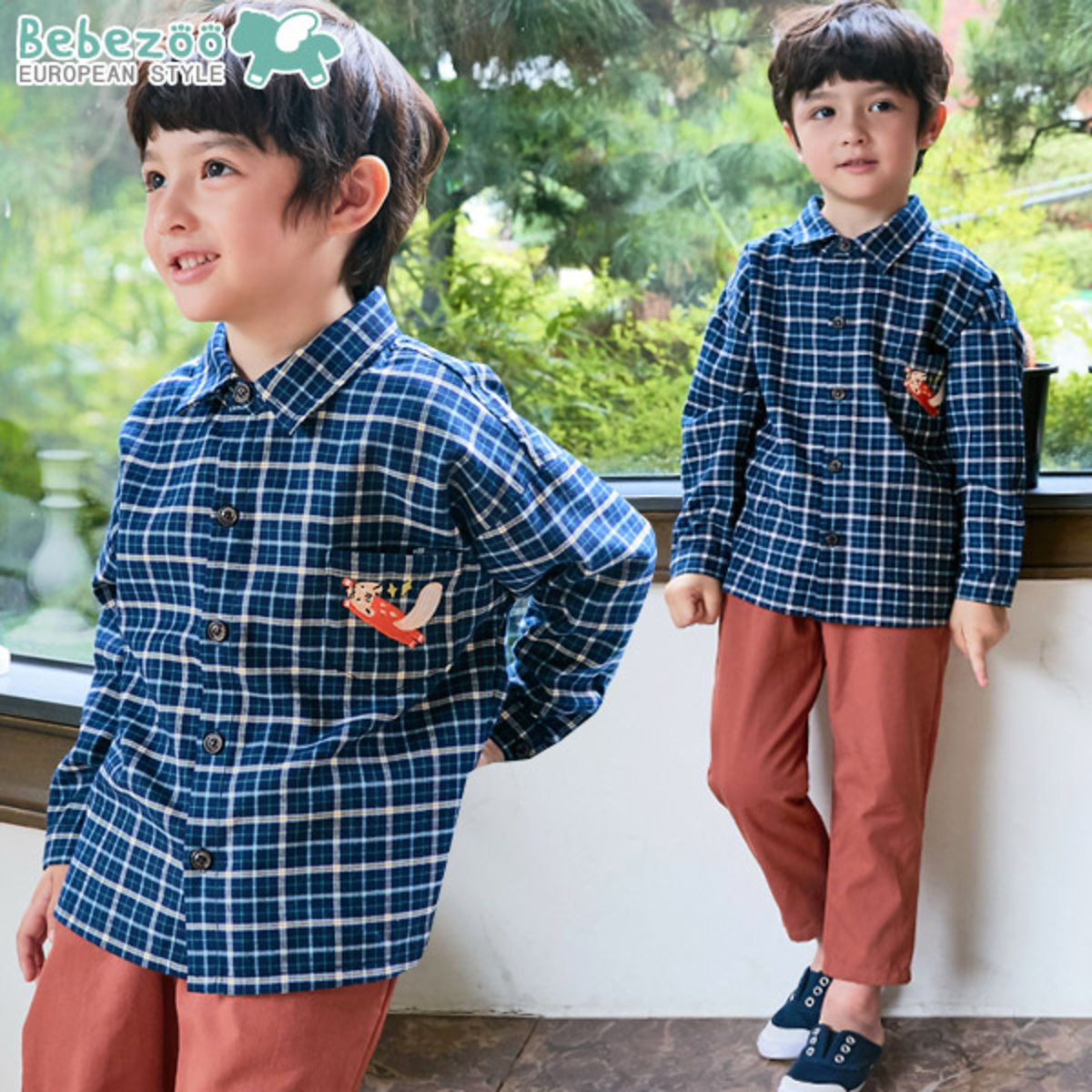 BEBEZOO EMBROIDERED PLAID SHIRT SET (SHIRT + PANTS SET) BEZOO141