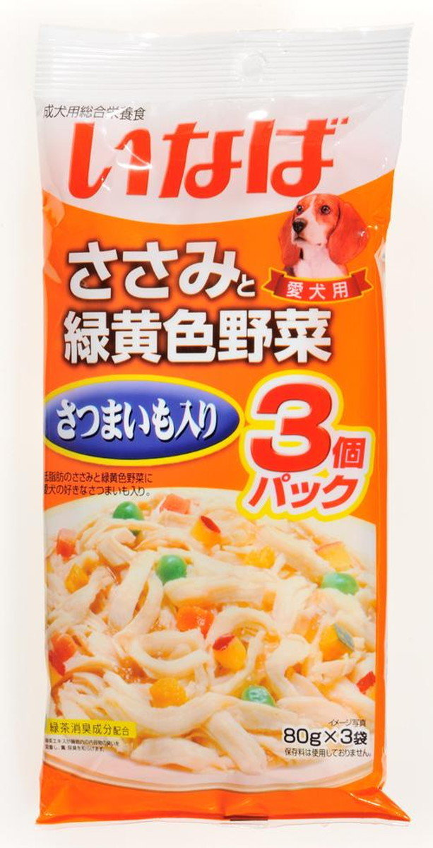 INABA chicken & vegetable with green tea wet food 80g x 3 (61675) (Import from Japan)