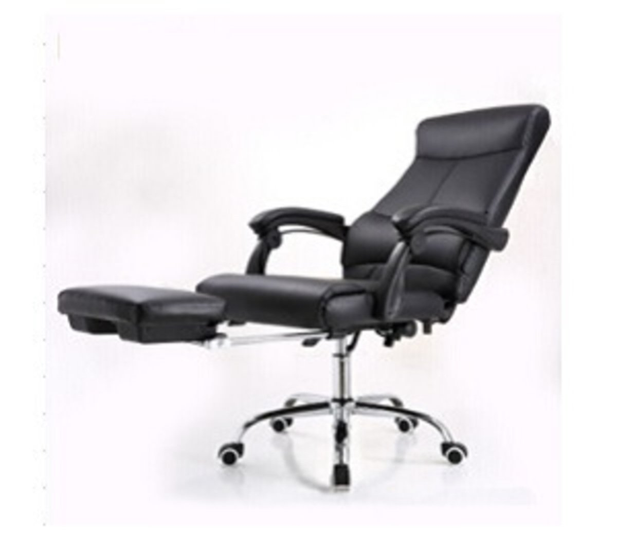 PU Leather Chair with Footrest(Black)
