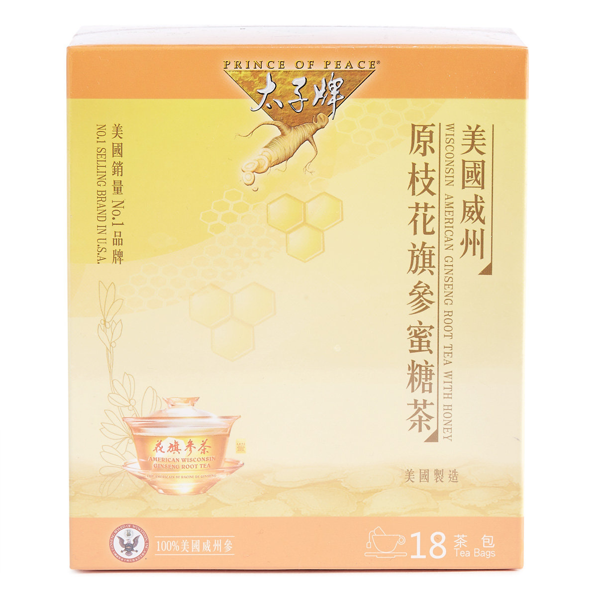 American Ginseng Root Tea with Honey (18 Teabags)