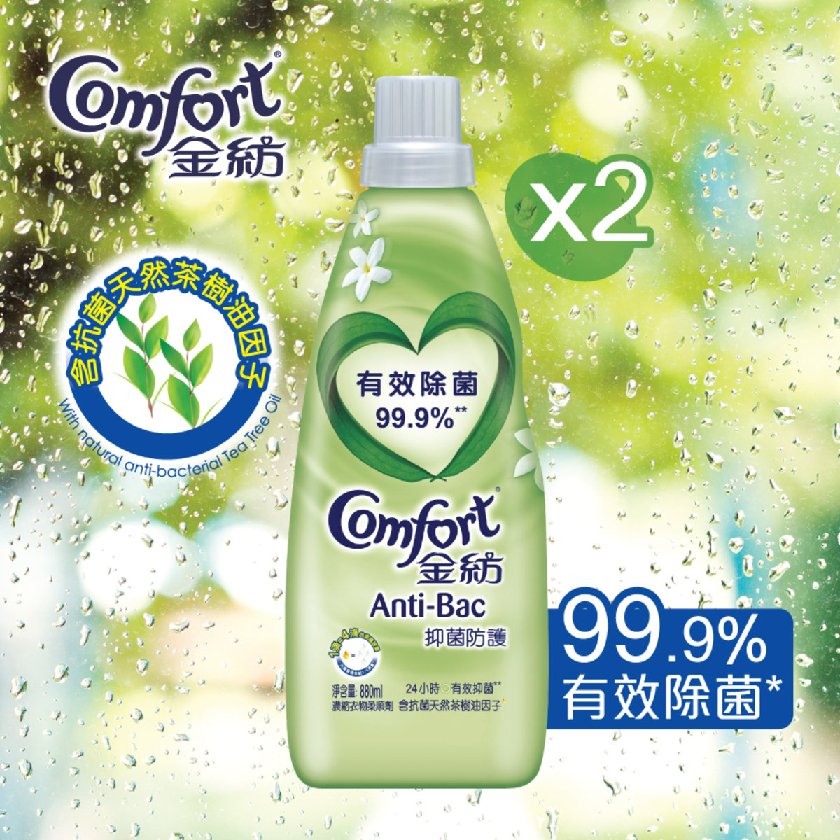 [Twin Pack] Comfort Fabric Softener Concentrate Essence - Anti-Bac