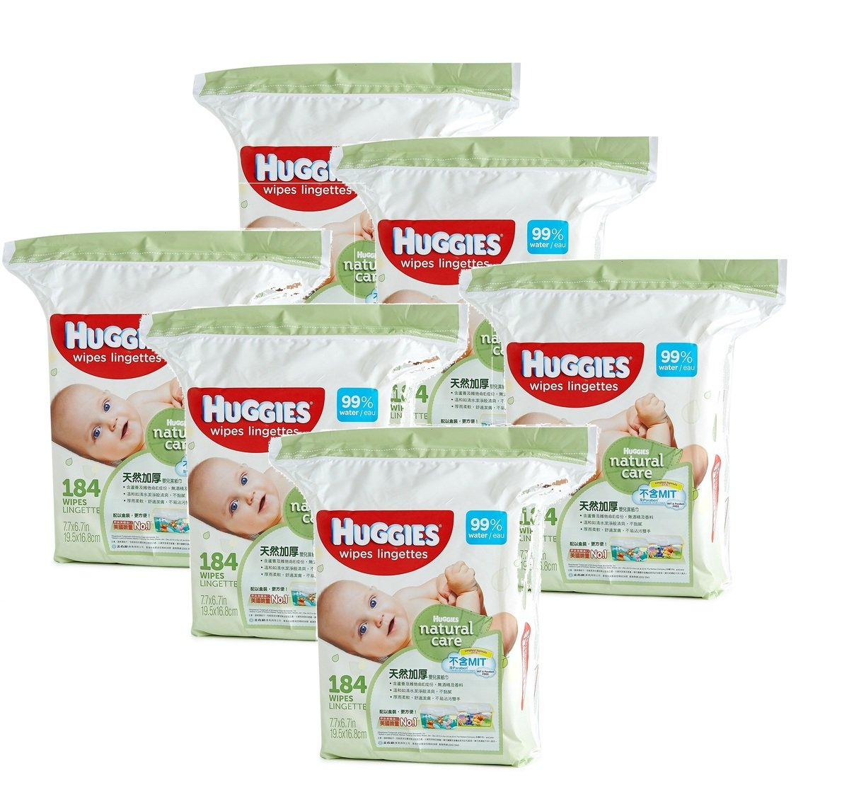 Natural Care Baby Wipes 184's x 6