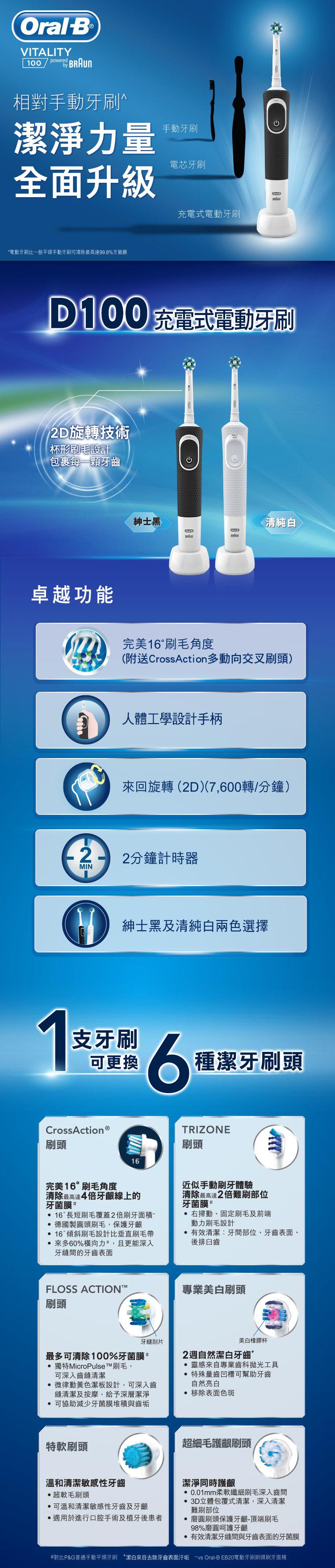 Oral B   D100 CrossAction Vitality - White   HKTVmall Online Shopping