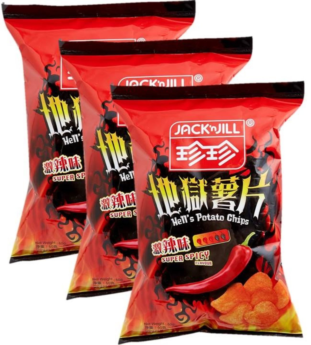 Hell's Potato Chips Super Spicy Flavoured x3
