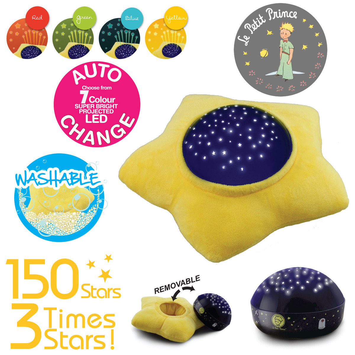 The Little Prince Washable Soft Star Plush Projector