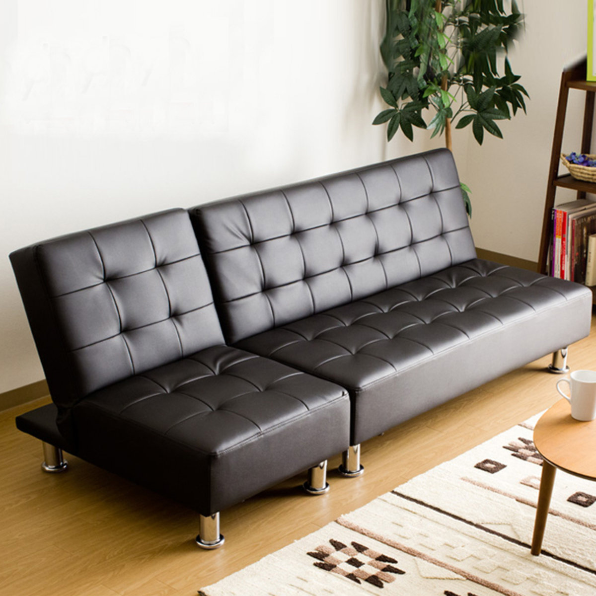 Multi-functional folding Pu sofa combination MR-021 Black