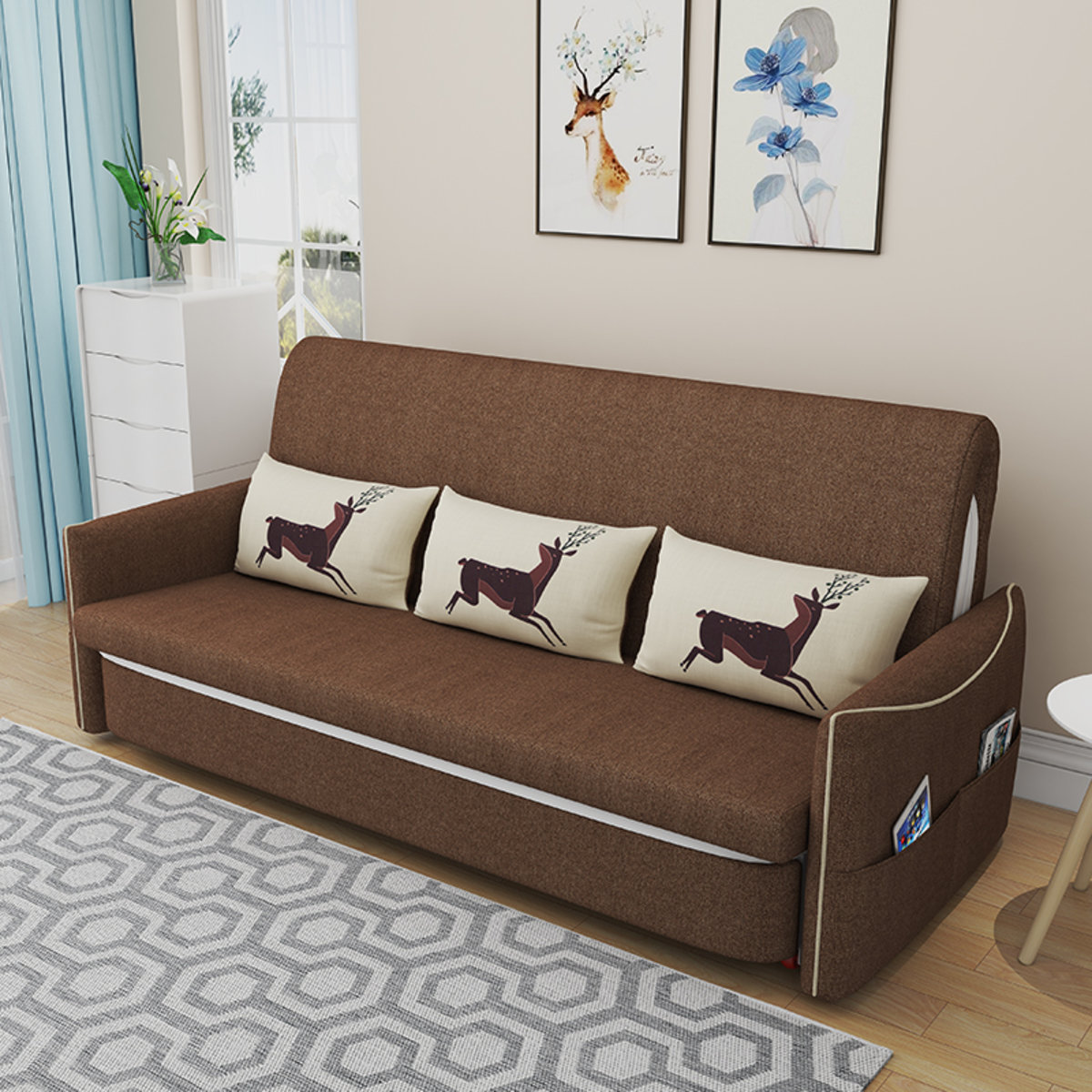 Multi-functional Fabric sofa bed1.4 m MR-868F Brown