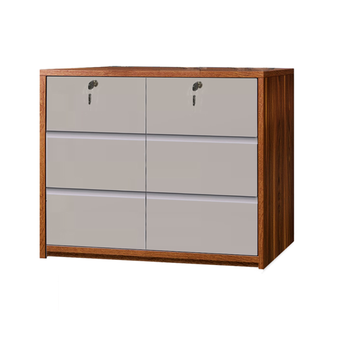 6 Drawer cabinet(light walnut+khaki) WP08KW6