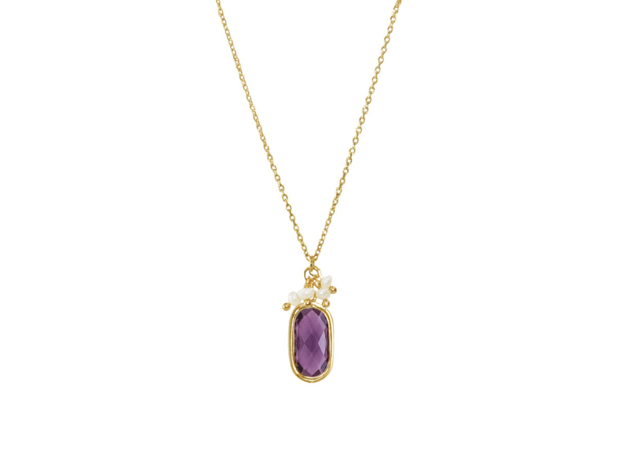 Birthstone with Pearl Necklace - Amethyst Topaz (February)