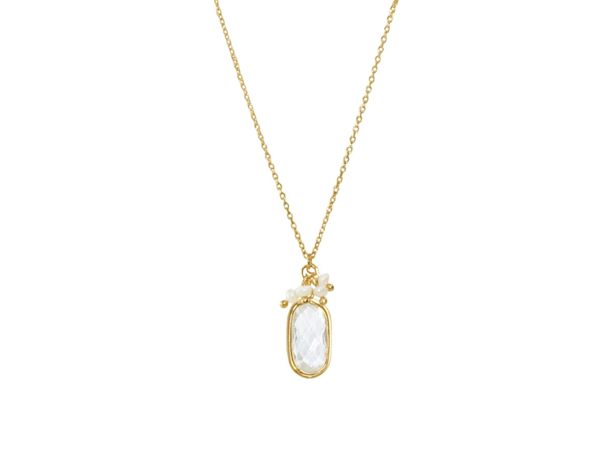 Birthstone with Pearl Necklace - Crystal Topaz (April)