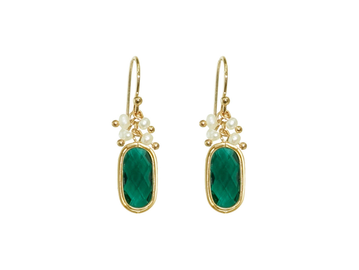 Birthstone with Pearl Earrings - Emerald Quartz (May)