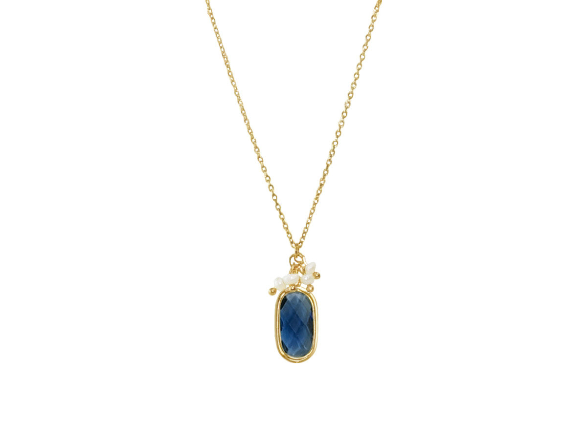 Birthstone with Pearl Necklace - Blue Sapphire Quartz (September)