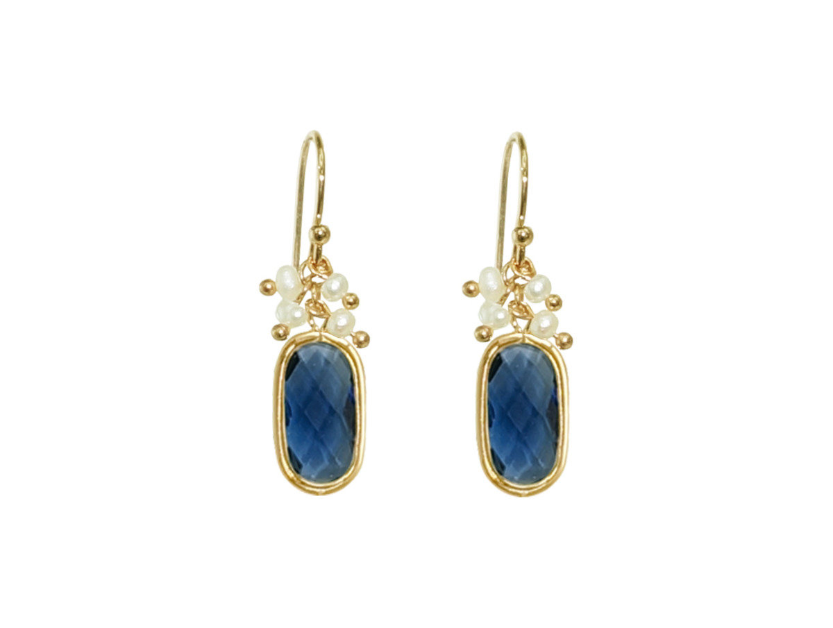 Birthstone with Pearl Earrings - Blue Sapphire Quartz (September)