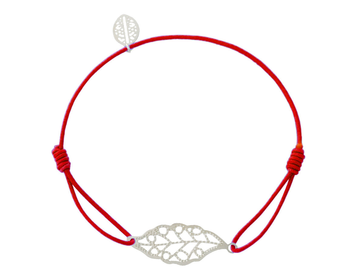 Little Leaf Charm with Red Cotton Cord Bracelet