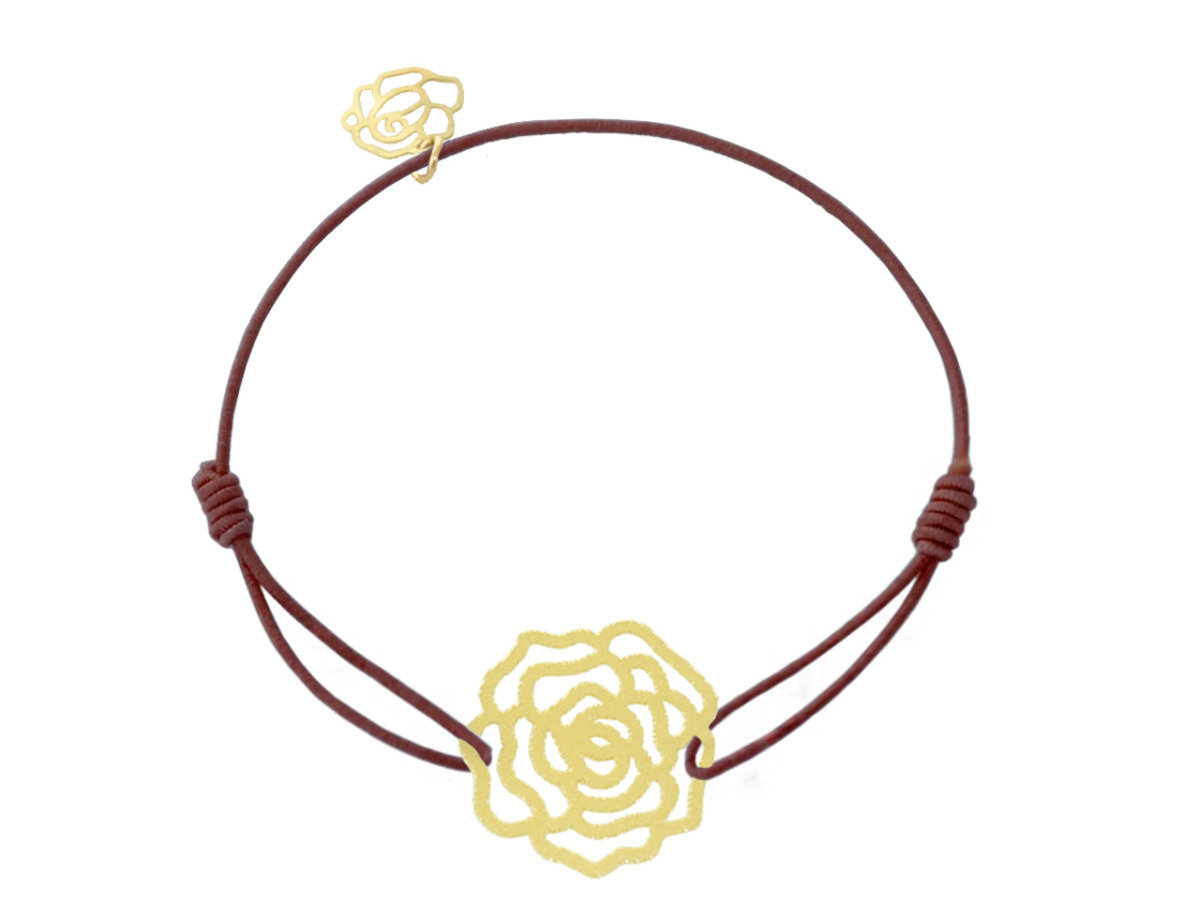 Rose Charm with Brown Cotton Cord Bracelet - Gold