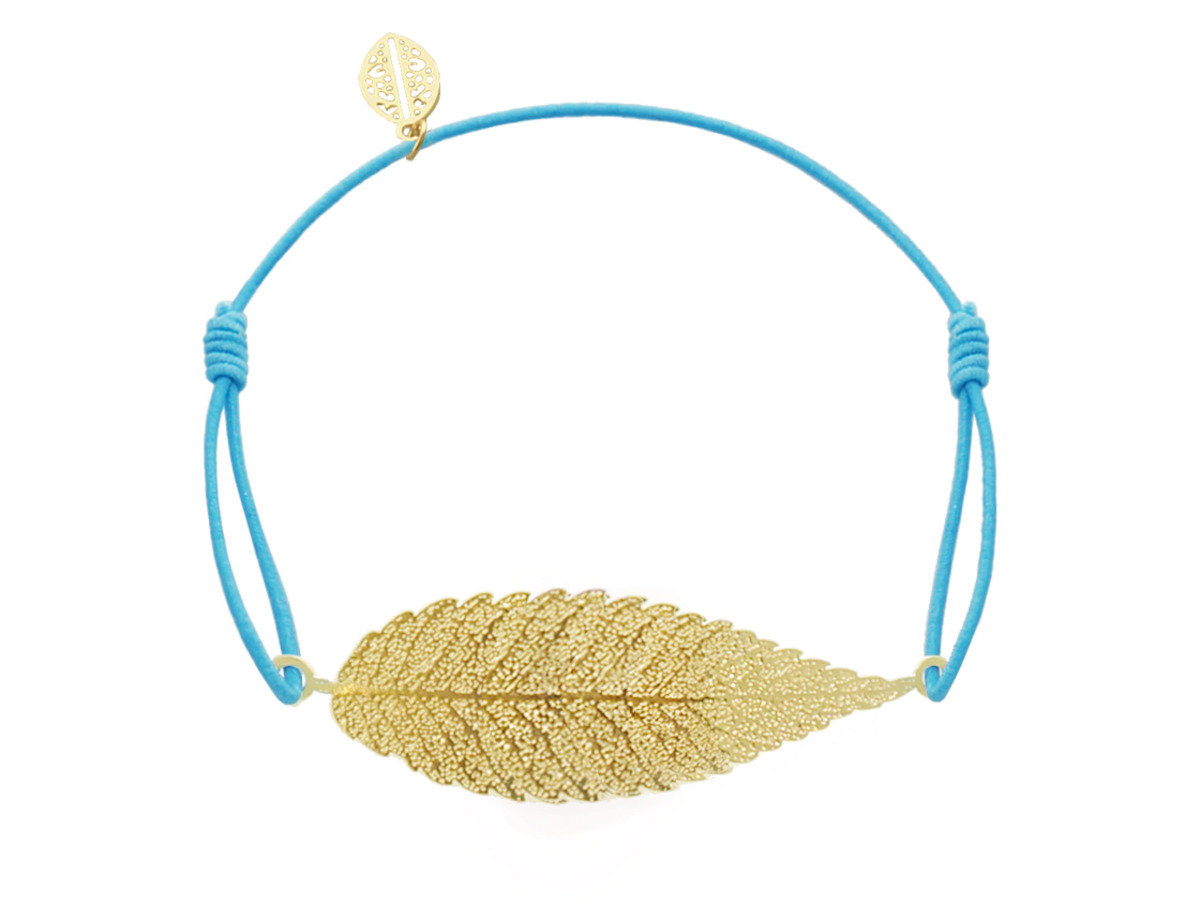 Leaf Charm with Light Blue Cotton Cord Bracelet - Gold