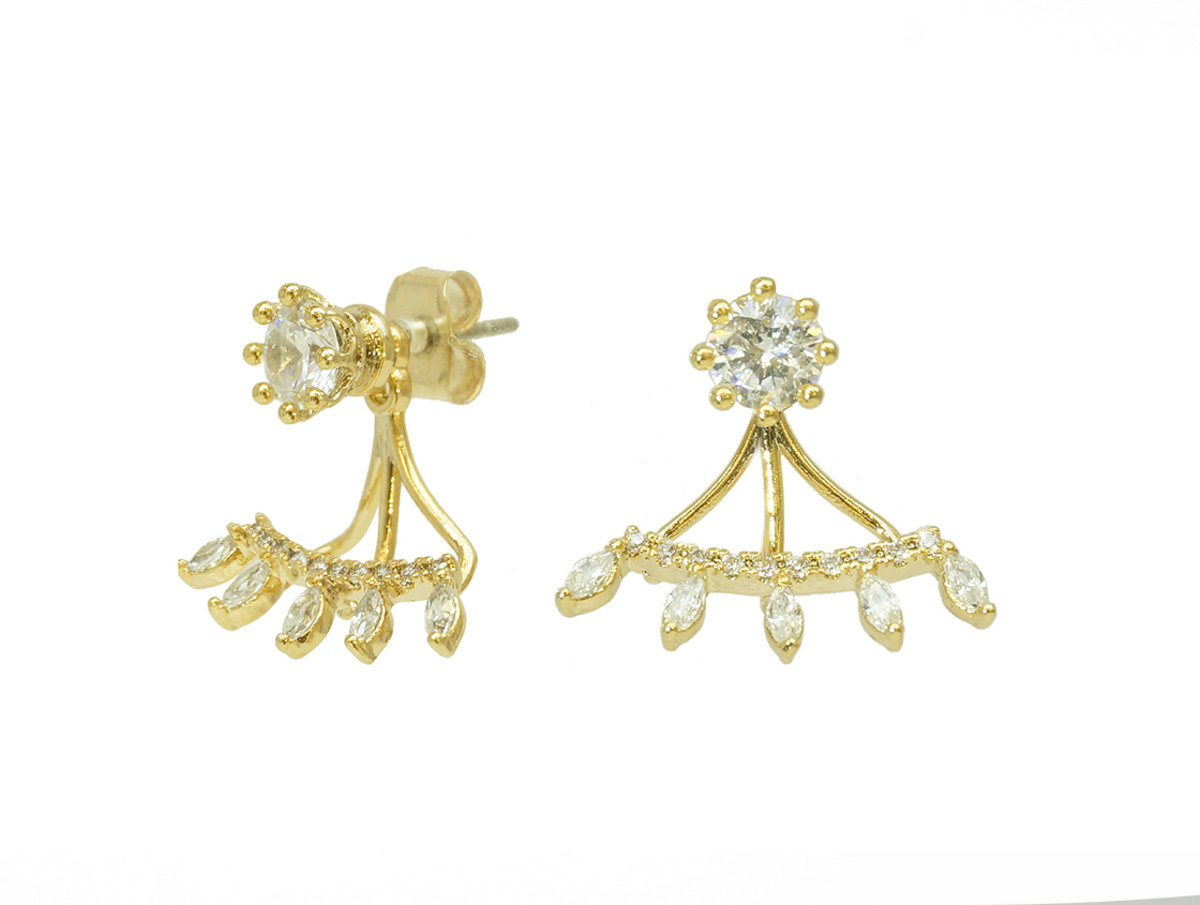 Marquise Cubic Stone 2 in 1 Earrings - Gold