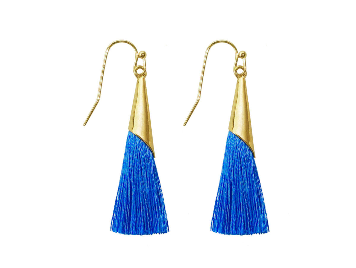 Silk Tassel Earrings - Blue