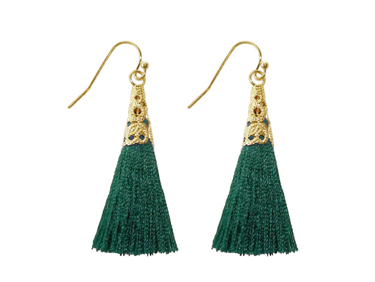 Silk Tassel Mesh Earrings - Green