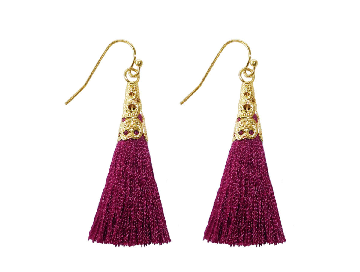 Silk Tassel Mesh Earrings - Red