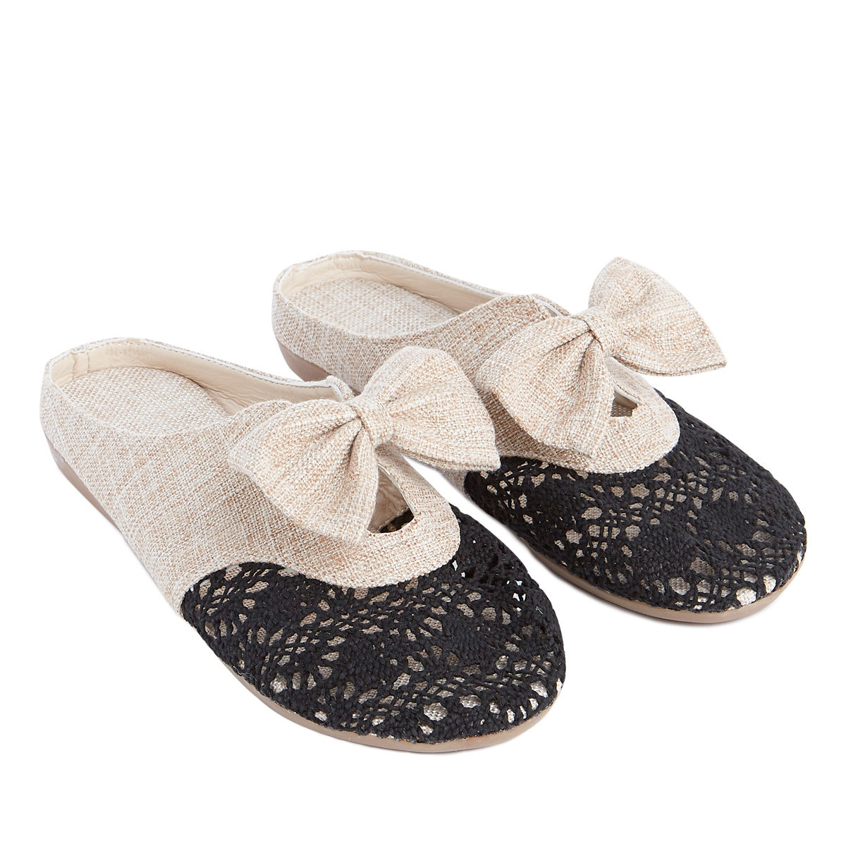 Black Punching Lace Bowknot Shoes