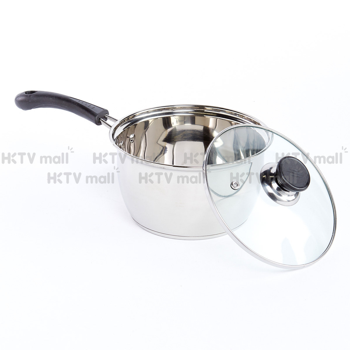 16CM/1.3L Stainless Steel Saucepan with Glass Lid (IH Compatible)