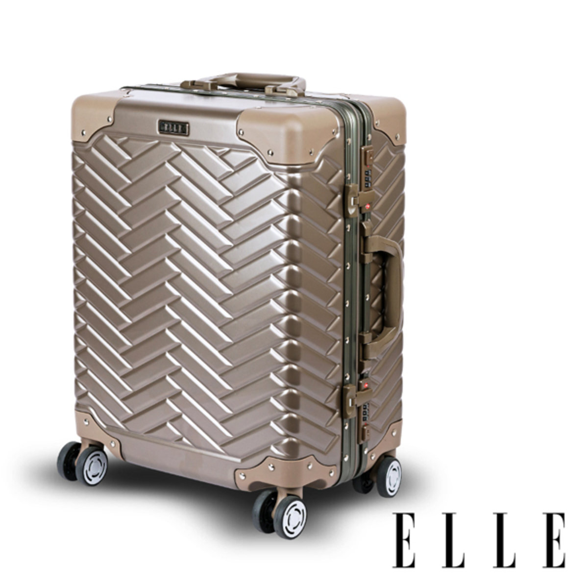 "[E-COUPON] 24"" PC Aluminium luggage case-31203 Gold"