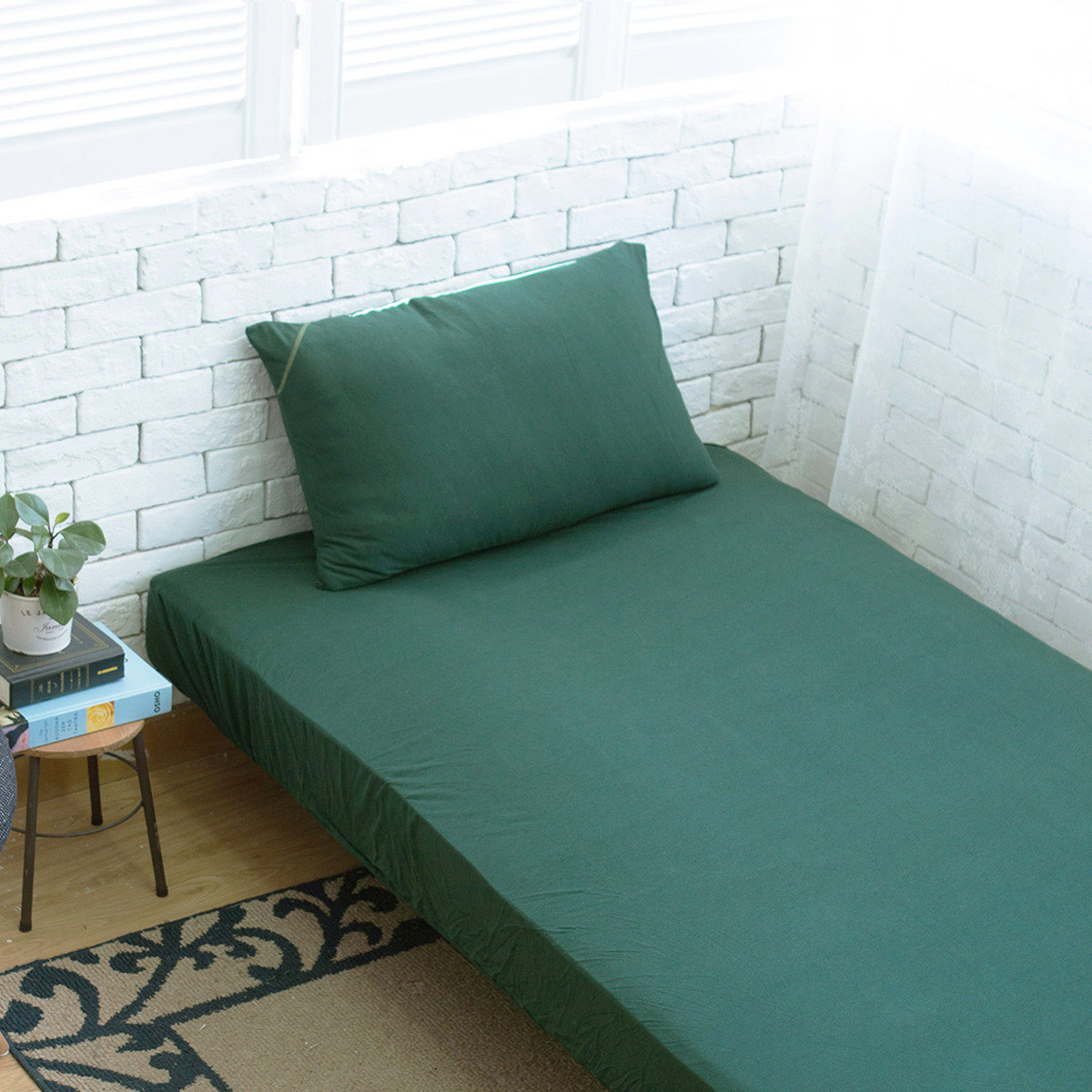 Fine Cotton Fitted Sheet + Pillowcase - Forest Green