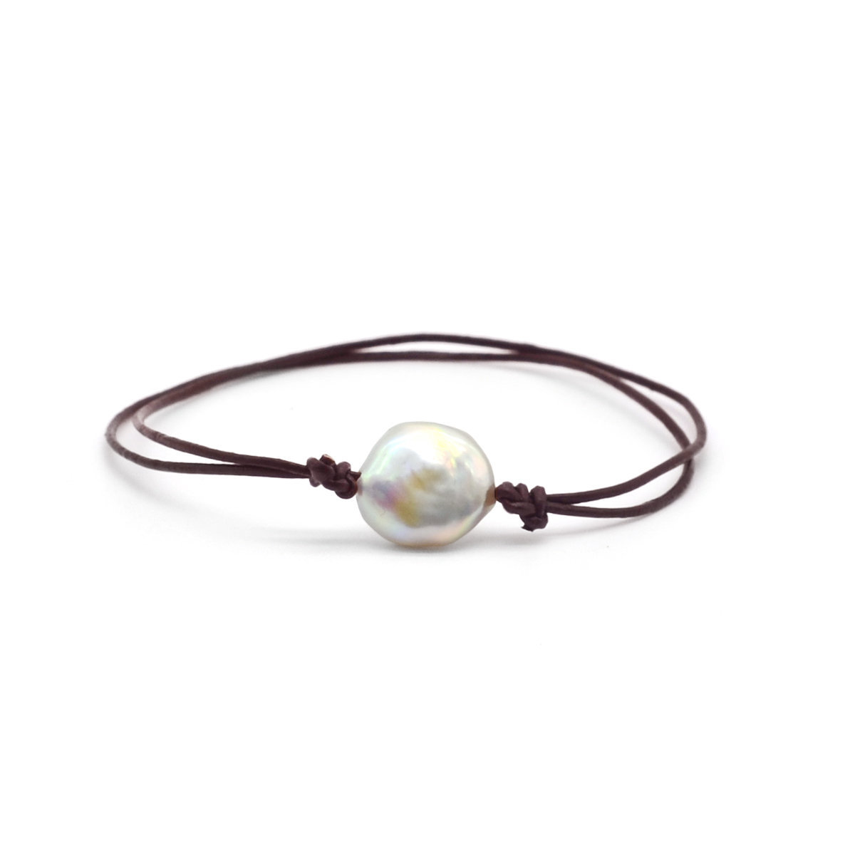 12-13mm Coin shape Cultured fresh water pearl with leather bracelet